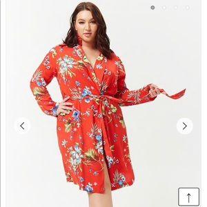 Forever 21 Plus Size Kimono Wrap Cardi LS Floral